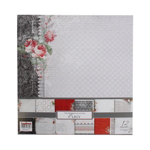 SCB220604300B Набор бумаги для скрапбукинга 'Элегия', 30,5*30,5 см, 190 гр/м, односторонняя, упак./12 листов
