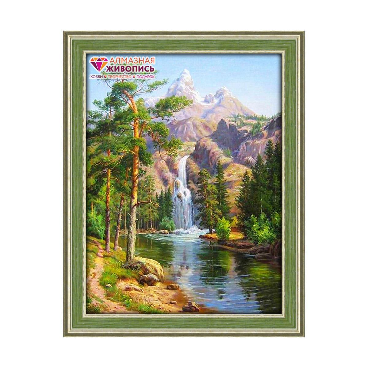 АЖ-1347 Картина стразами 'Горный водопад' 30*40см