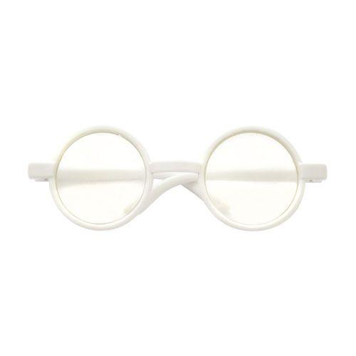 25581 Очки со стеклом круглые, пластик, белый, 8 см*d 3см, упак./10 шт.