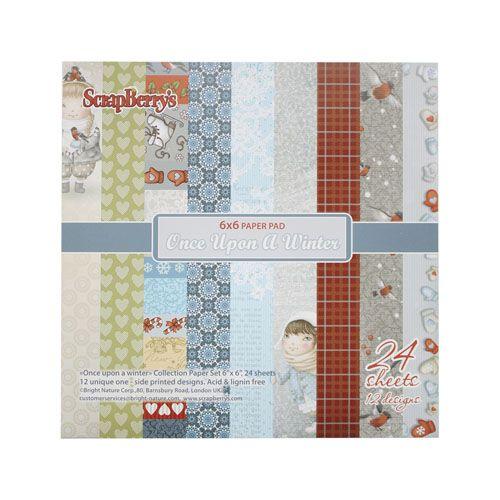 SCB220605610 Набор бумаги для скрапбукинга 'Однажды зимой', 170 гр/м, 15*15 см, упак./24 листа