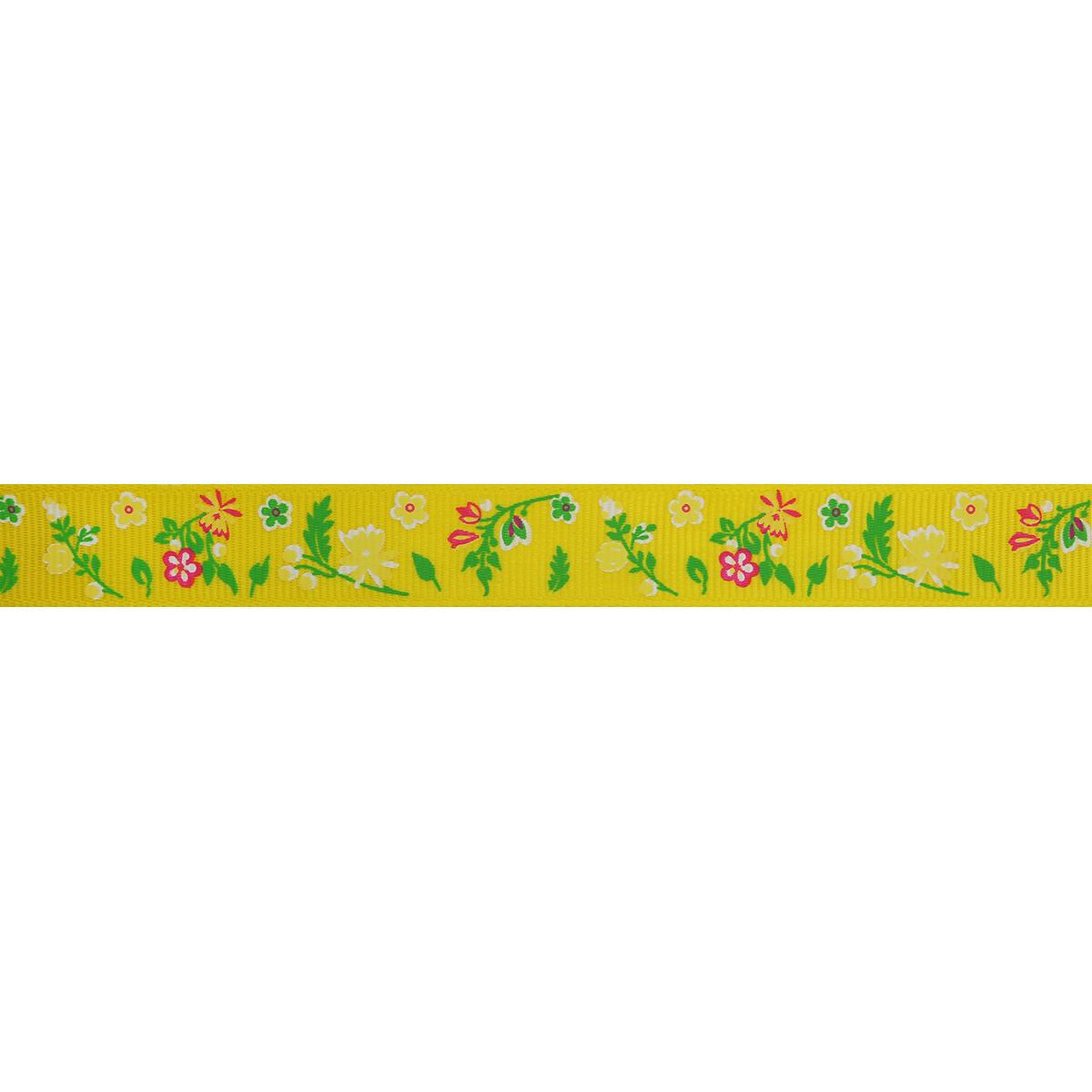 Лента репсовая 'Веточки с цветами' 1,5см*45,72м