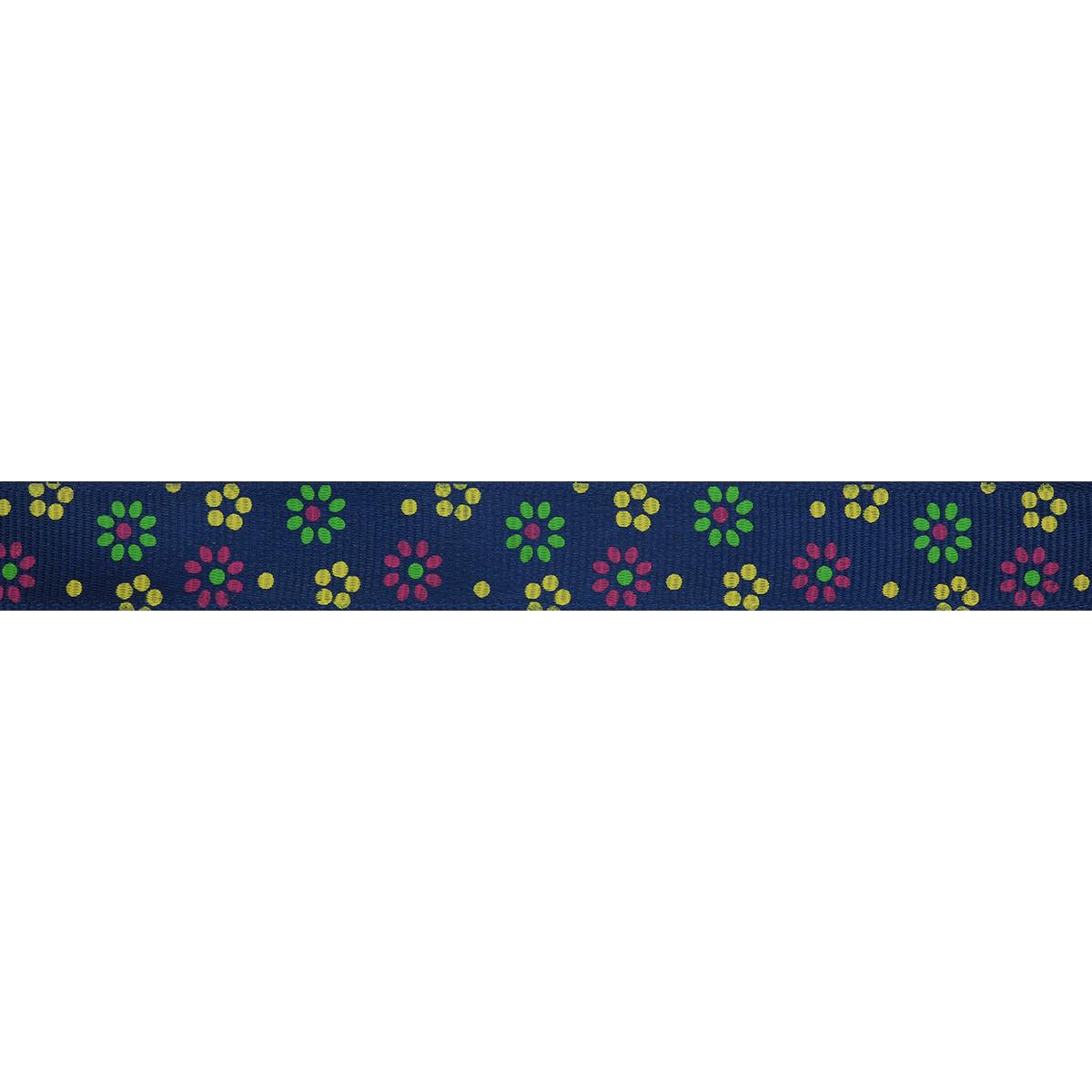 Лента репсовая 'Цветочки мелкие 2' 1,5см*45,72м