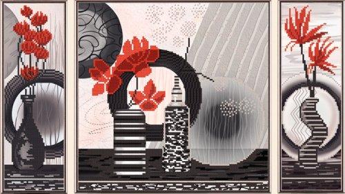 В32005 Канва с нанесенным рисунком 'Красные цветы' 1ч 9х27см 2ч 27х37см 3ч 9х27см