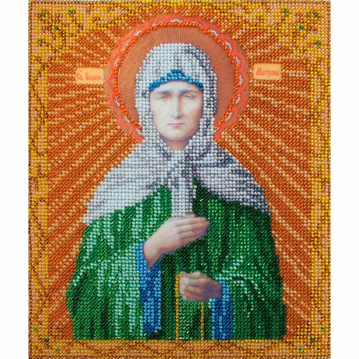 БН-4006 Набор для вышивания бисером Hobby&Pro 'Икона Святая Блаженная Матрона Московская', 19*23 см