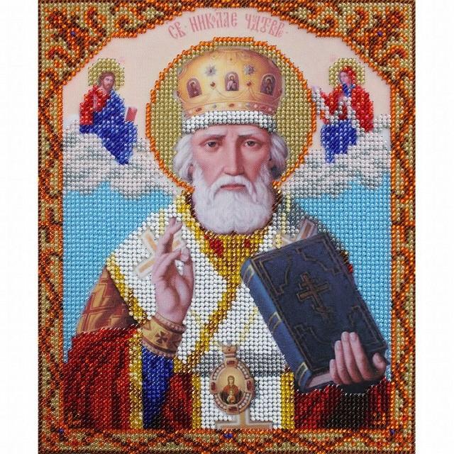БН-4011 Набор для вышивания бисером Hobby&Pro 'Икона Святитель Николай Чудотворец', 19*23 см