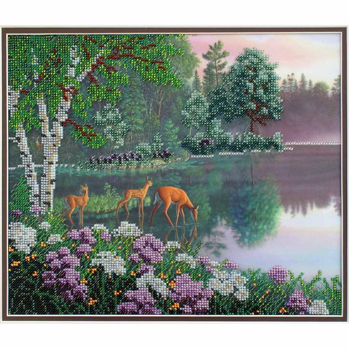 БН-3134 Набор для вышивания бисером Hobby&Pro 'Волшебное озеро', 30*25 см