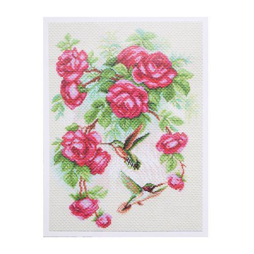 1755 Набор для вышивания 'Матренин Посад' 'Розы и колибри', 28*39 см