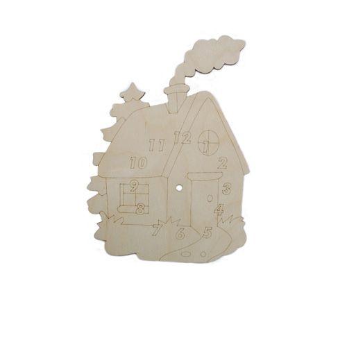 L-525 Деревянная заготовка Часы 'Домик', 21*30 см, 'Астра'