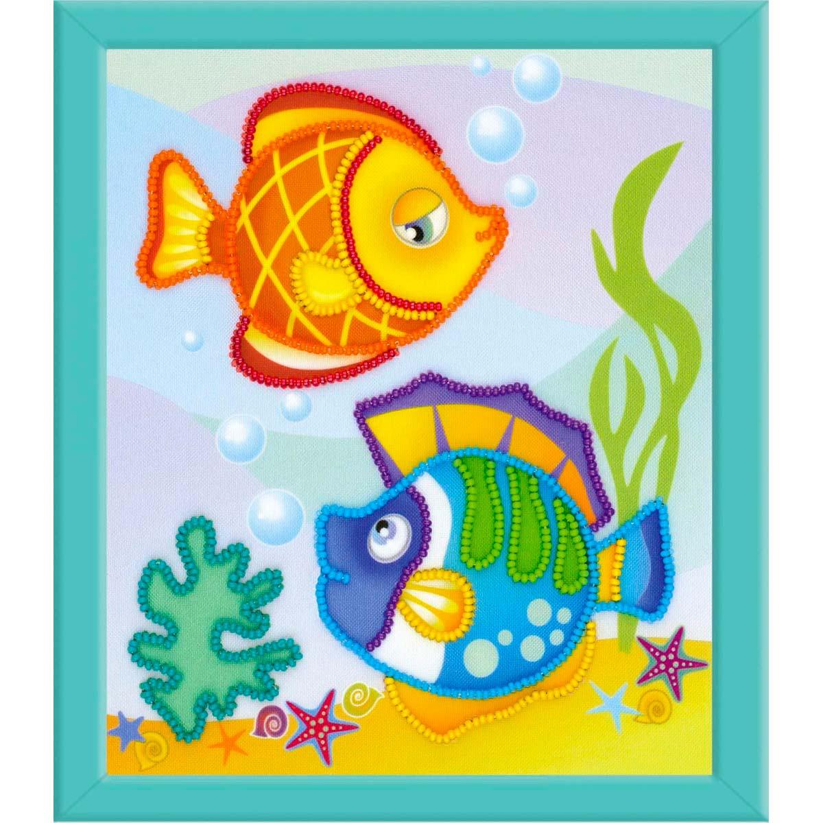 РТ-0062 Частичная вышивка Riolis 'Морские рыбки', 15*18 см