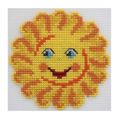 П-0005 Набор для вышивания на пластиковой канве Hobby & Pro Kids 'Солнышко', 11*11 см