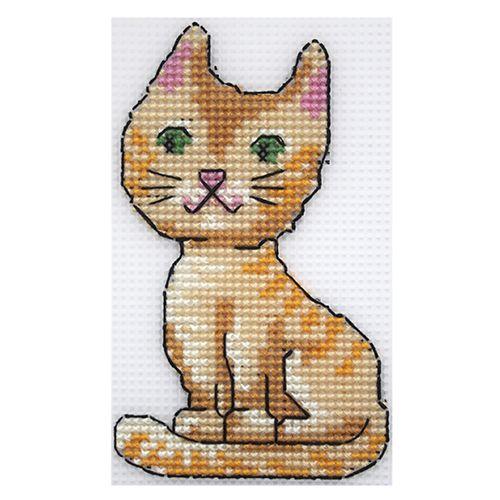 П-0013 Набор для вышивания на пластиковой канве Hobby & Pro Kids 'Рыжий кот', 8*13,5 см