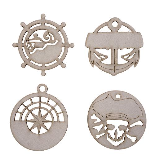 ВК-35 набор декоративных элементов 'Пираты' 6,*7см, 6*6см (4шт) Астра