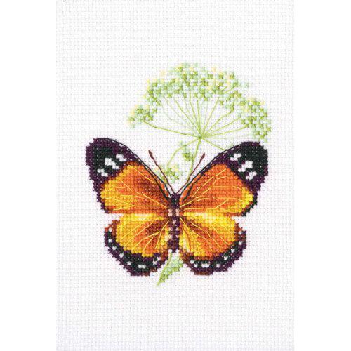 EH365 Набор для вышивания RТО 'Цветок тмина и бабочка', 8,5x9,5 см