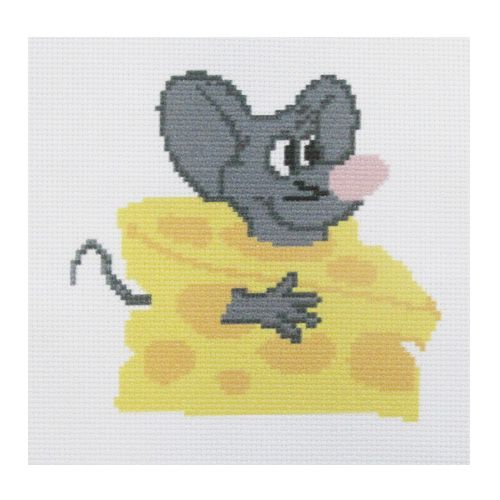 ПК-125 Набор (рис/канв. мулине) Hobby&Pro 'Мыша в сыре', 22*22 см