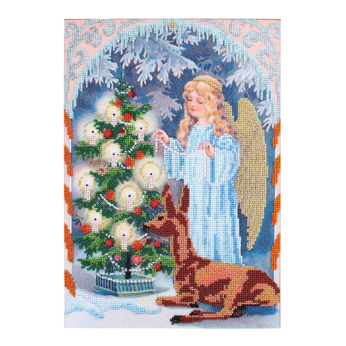 БН-3133 Набор для вышивания бисером Hobby&Pro 'Рождественский ангел', 25*35 см