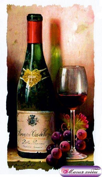 РТ130028 Папертоль 'Бутылка вина и виноград' 9*16см