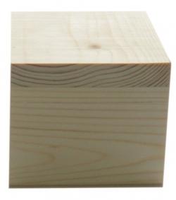 AH616021 Деревянная заготовка Шкатулка с фаской, крышка на петлях из массива сосны, 10х10хh9см