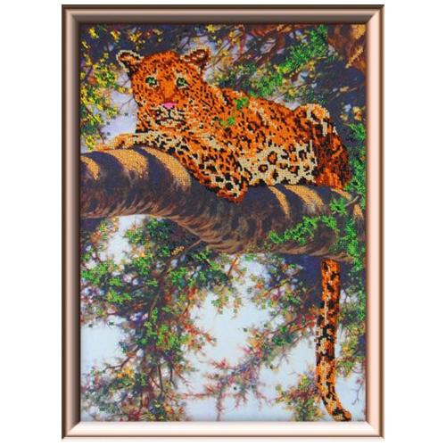 63005 Набор для вышивания бисером Gluriya 'Леопард на дереве' 30х40см