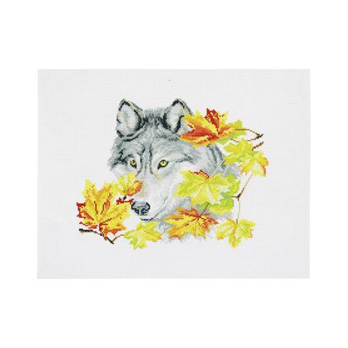 РК-102 Канва с рисунком Hobby&Pro 'Осенний волк '35*35см