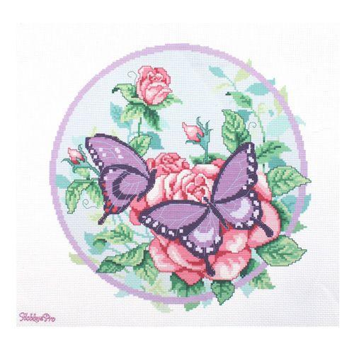 РК-104 Канва с рисунком Hobby&Pro 'Бабочки' 35*35см