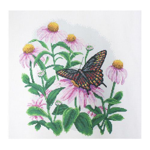 РК-108 Канва с рисунком Hobby&Pro 'Бабочка на полевых цветах' 35*35см