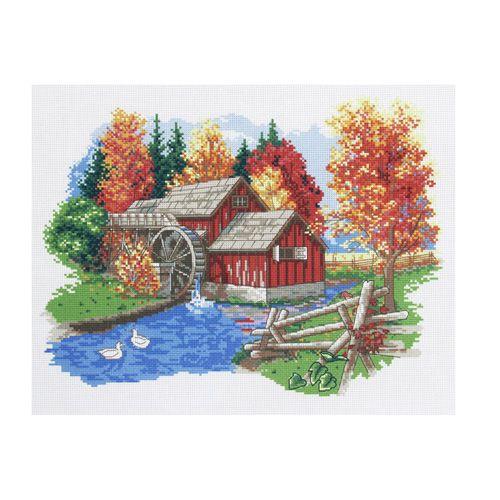 РК-201 Канва с рисунком Hobby&Pro 'Осенний пейзаж', 45*35 см