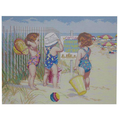 РК-217 Канва с рисунком Hobby&Pro 'Пляжный сезон' 45*35см
