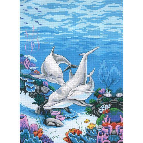 РК-301 Канва с рисунком Hobby&Pro 'Дельфины' 40*50см