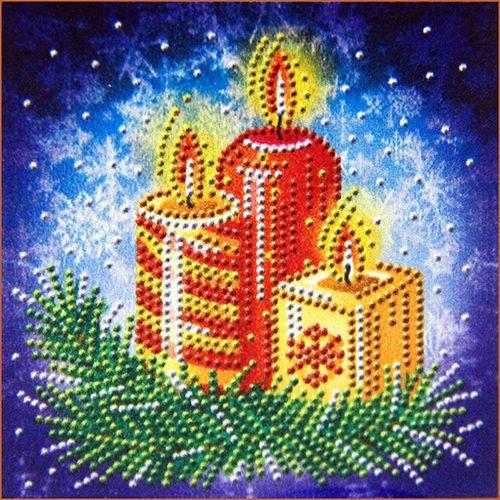 АЖ-3014 Картина стразами 'Новогодние свечи' 15*15см