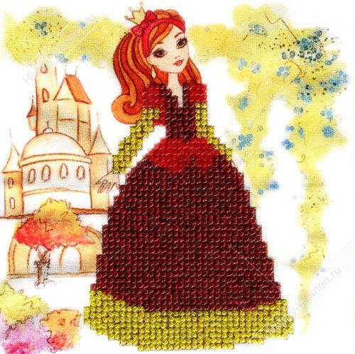 ДПТ005 Набор для вышивания бисером Woman-Hobby 'Принцесса' 15*15 см
