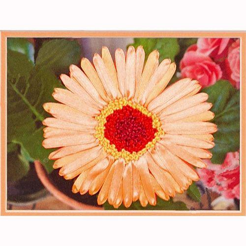 ВЛС 0020 Набор для вышивания лентами Woman-Hobby 'Гербера' 16*12 см