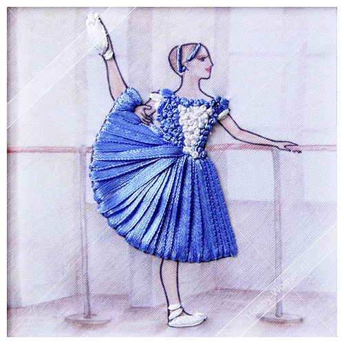 ВЛБС0005 Набор для вышивания лентами Woman-Hobby 'Серия Балерины', 13,5*13,5 см