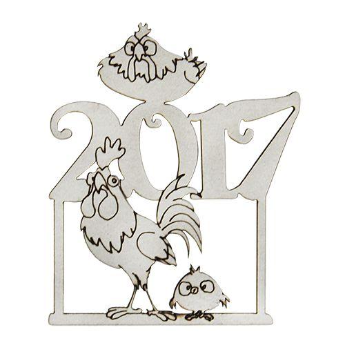 ВК-57 декоративный элемент 'С Новым 2017 годом Петуха' 4,5*5,3см Астра