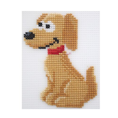 П-0008 Набор для вышивания на пластиковой канве Hobby & Pro Kids 'Добрый пес', 10*13 см