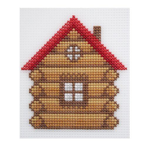 П-0015 Набор для вышивания на пластиковой канве Hobby & Pro Kids 'Избушка', 10,5*11 см