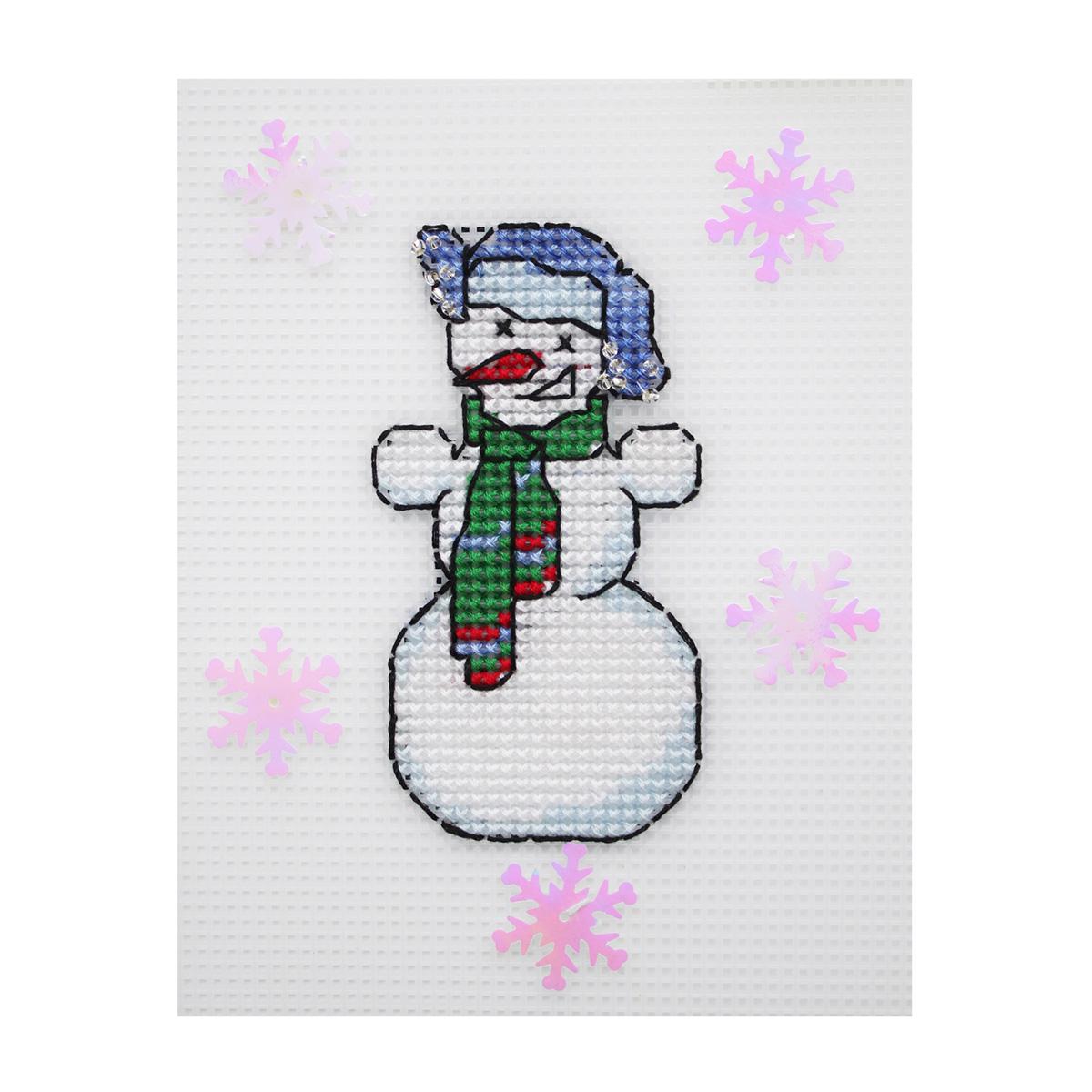П-0020 Набор для вышивания на пластиковой канве Hobby & Pro Kids ' Снеговик', 10*5,5 см