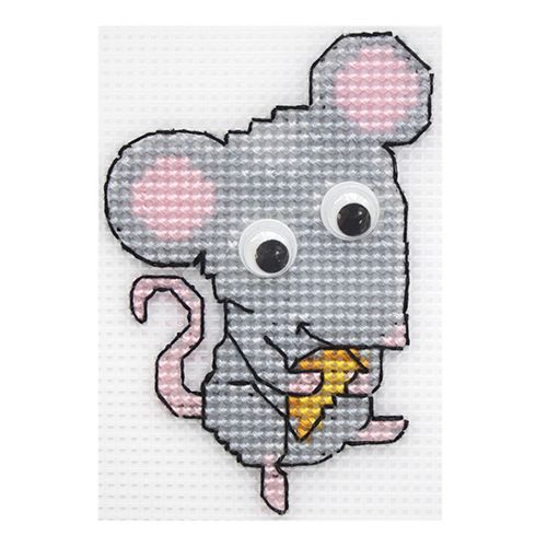 П-0021 Набор для вышивания на пластиковой канве Hobby & Pro Kids 'Мышь с сыром', 7*9 см