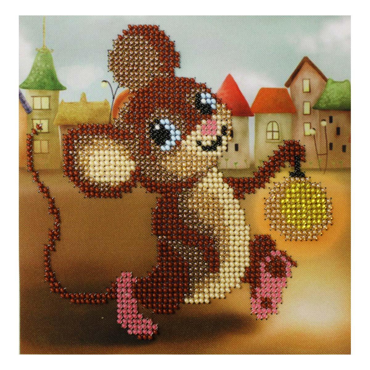 Б-0099 Набор для вышивания бисером 'Бисеринка' 'Мышонок с фонариком', 14*14 см