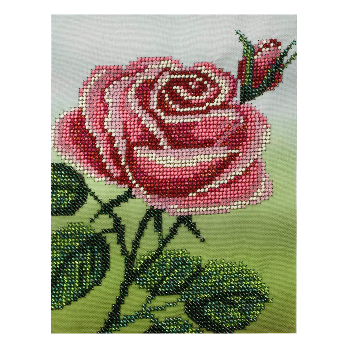 Б-0103 Набор для вышивания бисером 'Бисеринка' 'Розовая роза', 14*18,5 см