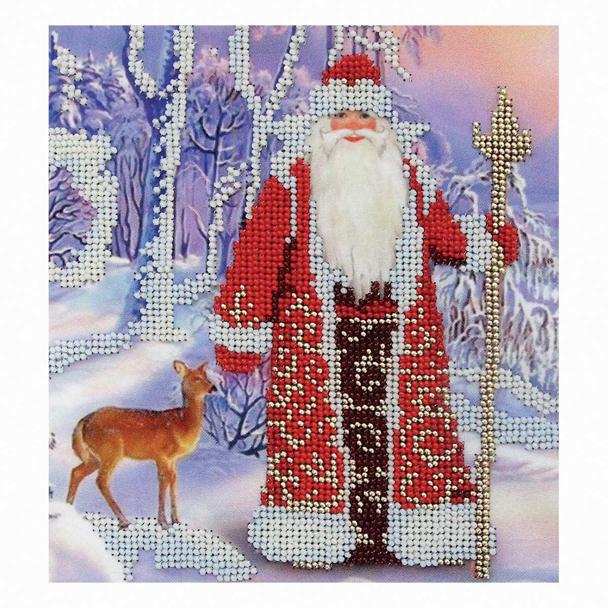 Б-0112 Набор для вышивания бисером 'Бисеринка' 'Дедушка Мороз', 17,5*19 см