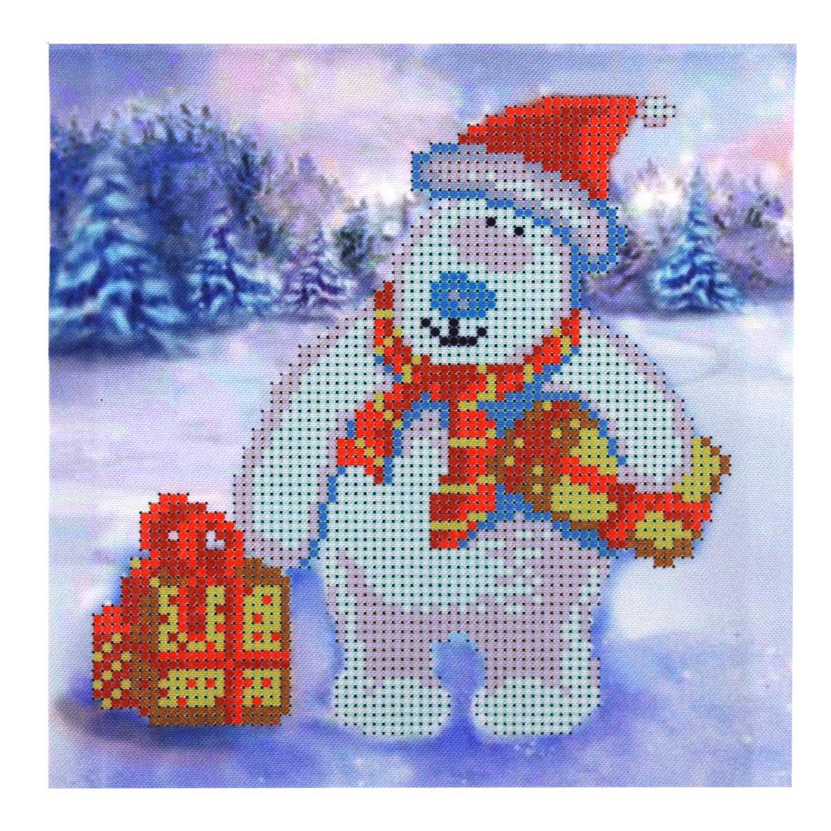 Б-0113 Набор для вышивания бисером 'Бисеринка' 'Новогодний мишка', 17,5*19 см