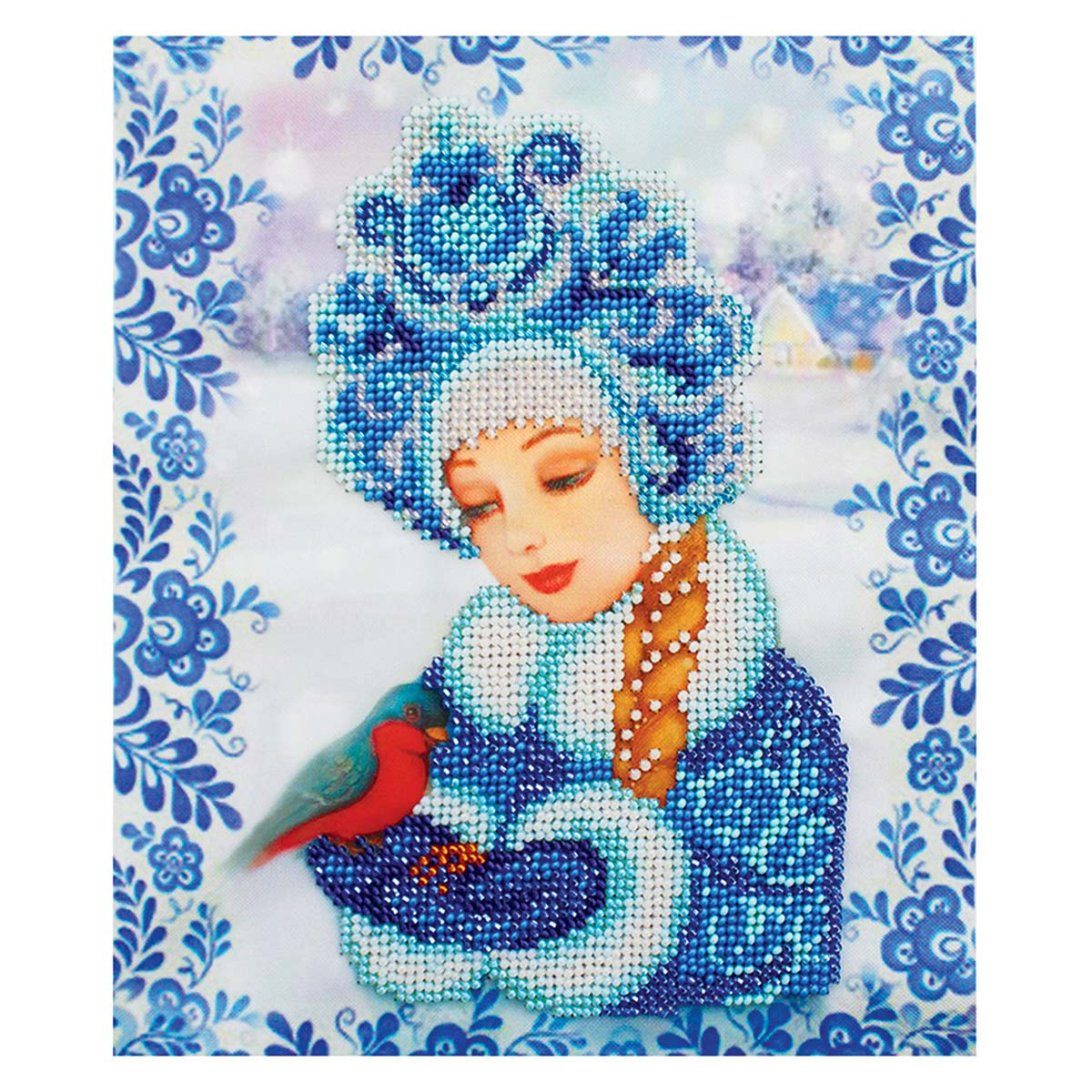 Б-0114 Набор для вышивания бисером 'Бисеринка' 'Снегурочка', 18,5*22 см