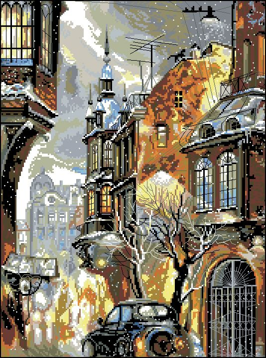Г-007 Канва с рисунком Гелиос 'Улочка' 37,5х50