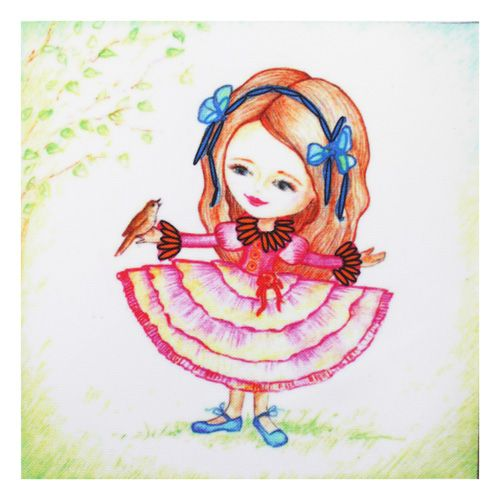 ВЛДС0008 Набор для вышивания лентами Woman-Hobby 'Серия Девочки №8', 13,5*13,5 см