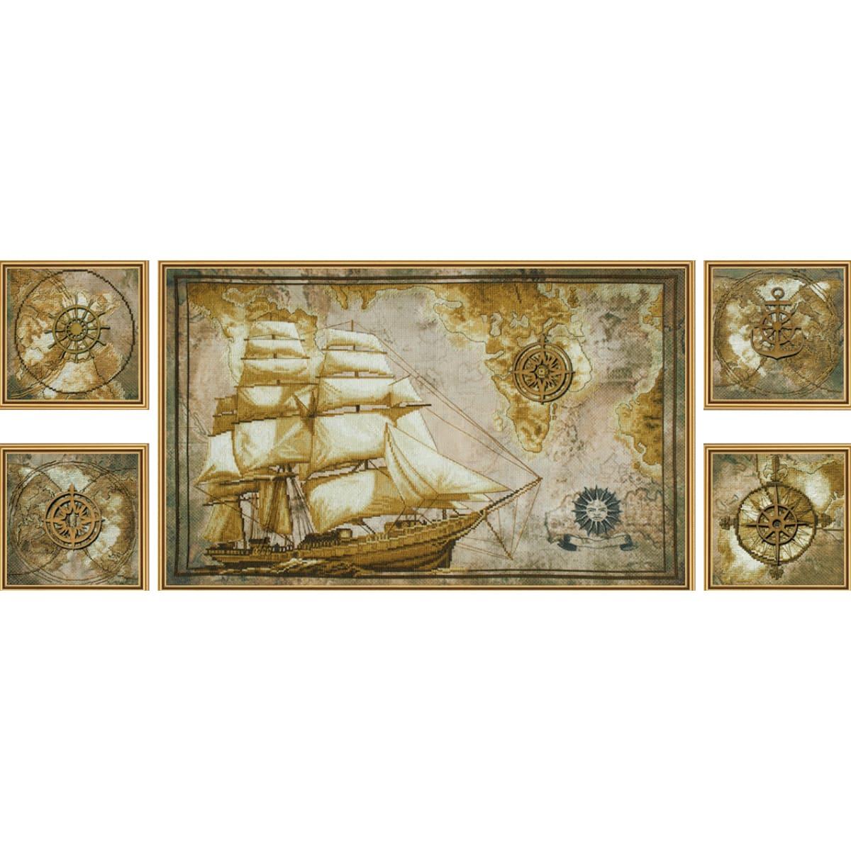 СВ6584 Набор для вышивания 'Нова Слобода' 'Морское путешествие', 4 части 14*21,1 см, часть 55*34 см