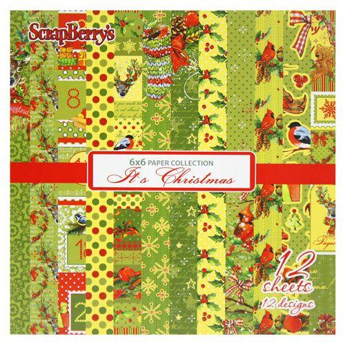 SCB220609707 Набор бумаги для скрапбукинга Рождественская Омела, 12 листов 15х15см 190гр/м