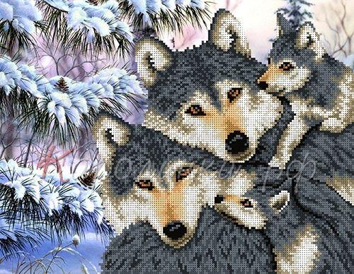 КБЖ-3019/1 Канва с рисунком для бисера 'Семья волков', А3