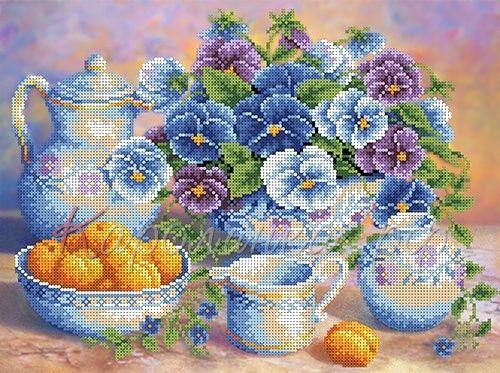 КБЦ-3029 Канва с рисунком для бисера 'Голубой букет', А3