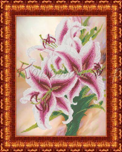 КБЦ-3026 Канва с рисунком для бисера 'Лилии', А3