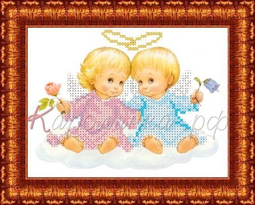 КБА-5011 Канва с рисунком для бисера 'Два ангелочка', А5